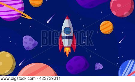 Horizontal Space Background With Abstract Shape And Planets. Web Design. Space Exploring. Vector Ill