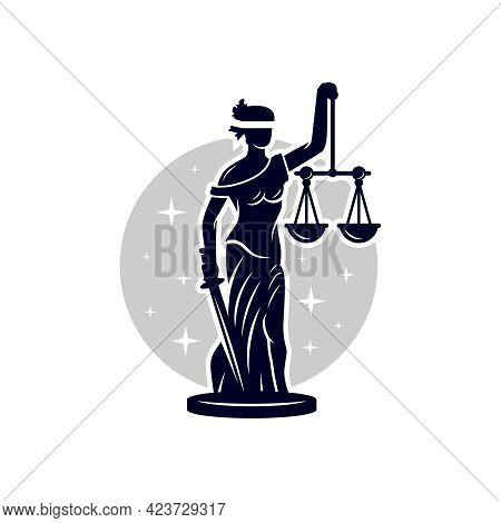 Woman Illustration Logo Design Using Sword Of Justice