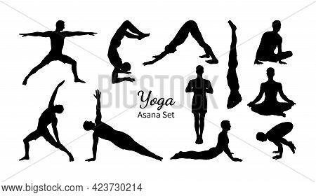 Yoga Asana Set. Set Of Male Silhouettes Exercising Yoga. Hand Drawn Sketch Vector Illustration Isola