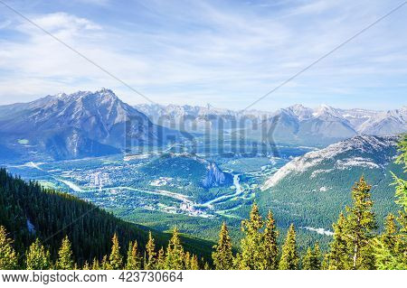 Aerial View Of Banff National Park In The Canadian Rockies, Alberta, Canada