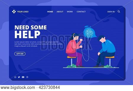 Psychological Help Landing Page Template Free Vector