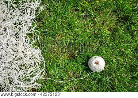 White Rope In Green Grass Or Lawn.