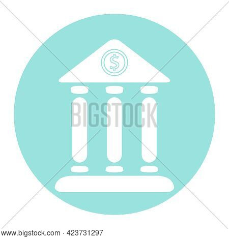 Bank Icon, White Bank Icon On A Blue Background. Vector, Cartoon Illustration. Vector.