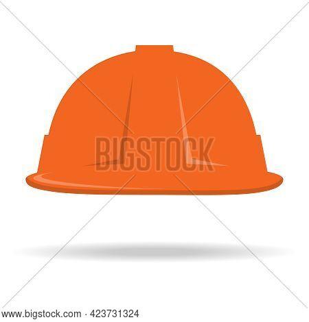 Construction Helmet Icon. An Orange Construction Helmet With A Shadow Under It. Vector, Cartoon Illu