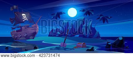 Pirate Ship Moored On Island With Treasure At Night. Chest With Gold And Shovel Under Full Moon, Fil