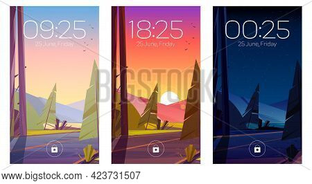Forest Landscape With Road And Mountains On Horizon At Morning, Evening And Night. Vector Template F