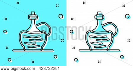 Black Line Wine In Italian Fiasco Bottle Icon Isolated On Green And White Background. Wine Bottle In