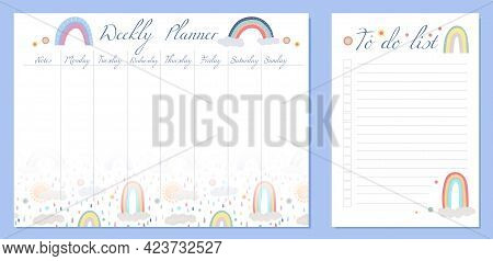 Set Of Child Day Organization Templates With Rainbow, Cloud And Dots. Weekly Planner And To Do List.