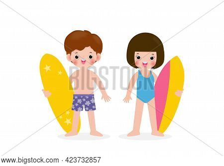 Summer Time And Set Of Cute Surfer Asian Children Character With Surfboard On Beach. Happy Young Sur
