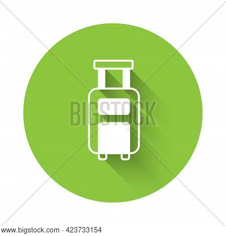 White Suitcase For Travel Icon Isolated With Long Shadow Background. Traveling Baggage Sign. Travel