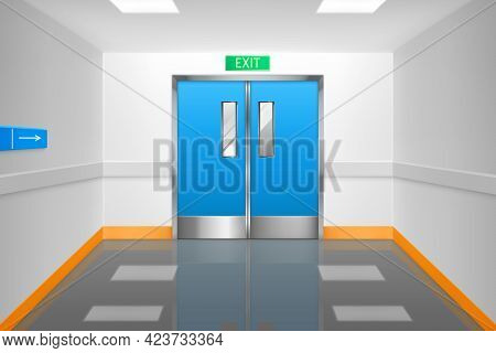 Empty Corridor With Double Doors And Exit Sign In Hospital Or Laboratory. Vector Realistic Interior