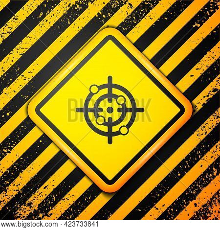 Black Target Sport Icon Isolated On Yellow Background. Clean Target With Numbers For Shooting Range
