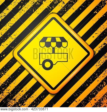 Black Fast Street Food Cart With Awning Icon Isolated On Yellow Background. Urban Kiosk. Warning Sig