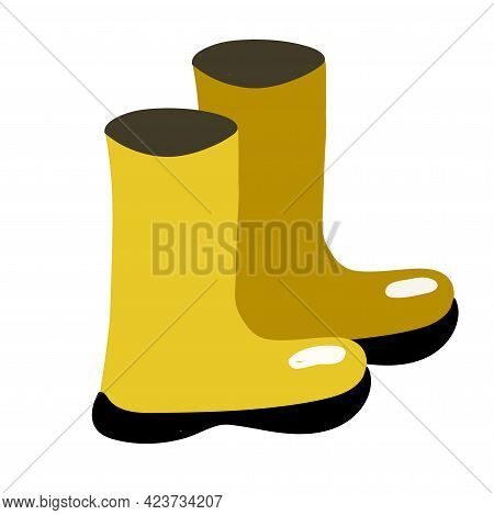 Pair Of Yellow Rubber Boots Isolated On White Background