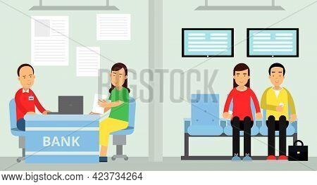 Man And Woman At Bank Filling Document At Manager Desk And Awaiting Service Vector Illustration