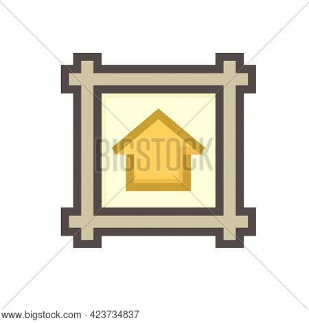 House Building Or Residential In Land Lot And Access Road Vector Icon In Top View. That Real Estate