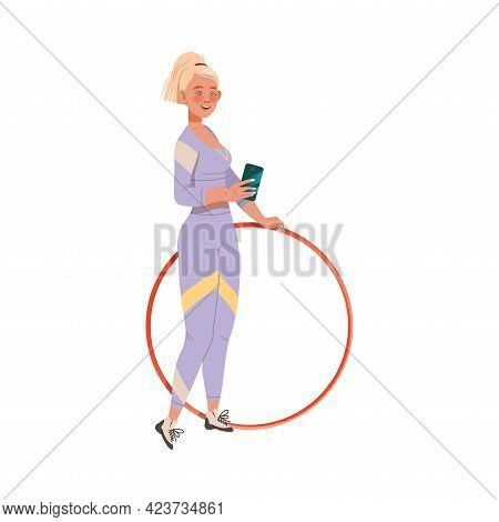 Young Woman Character With Blond Hair Taking Selfie With Hula Hoop Doing Sport And Physical Exercise