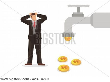 Worried Businessman Seeing A Water Tap Flow With Golden Coins. Business Concept Vector Illustration.