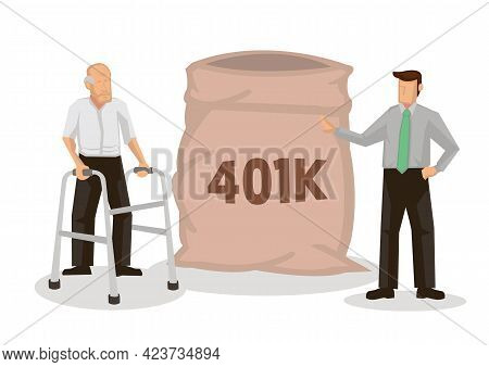 Senior Elderly Man Stand With Bag Of Dollar For His Retirement. Retirement Mutual Fund, 401k Or Roth