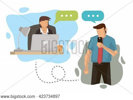 Online Communication Of Businesspersons Communication Through A Phone And Laptop. Business Concept V