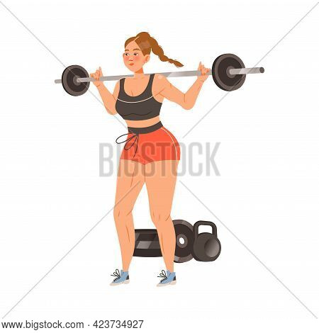 Young Woman Character Lifting Heavy Weight Bar Doing Sport And Physical Exercise Training Body And M
