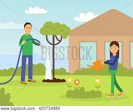 Young Man With Daughter Watering Plants In The Yard Contributing Into Environment Preservation Vecto