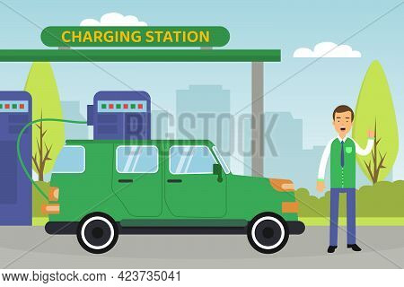 Young Man Working At Charging Station With Electrocar Contributing Into Environment Preservation Vec