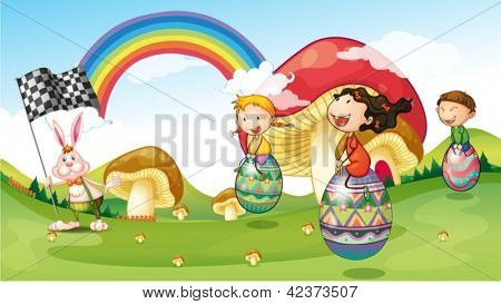 Illustration of a bunny and kids with easter eggs