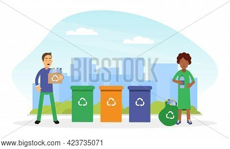 Young Man And Woman Gathering Garbage And Sorting Trash For Recycling Contributing Into Environment
