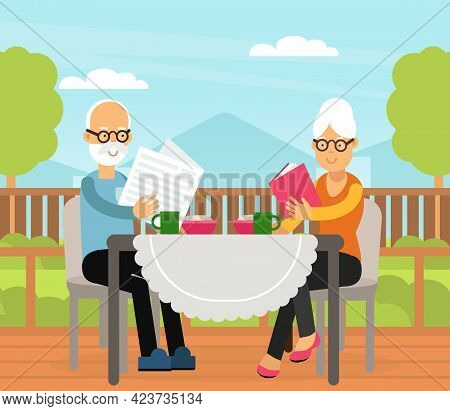 Old Man And Woman Drinking Tea On Terrace And Reading Newspaper Vector Illustration