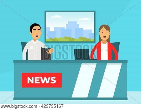 Male And Female Journalist Conducting Interview On Television Broadcast Reporting News And Informati
