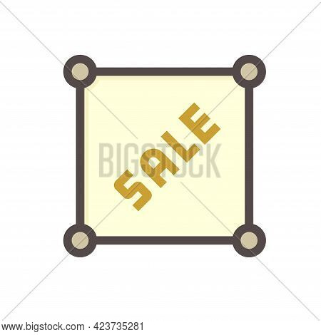 Land For Sale Vector Icon. Foreclose Real Estate Or Property Consist Of Empty Land On Roadside For D