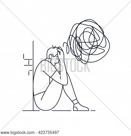Anxiety Vector Illustration. Young Man In A State Of Depression, Feels Anxiety, Suffers From Mental