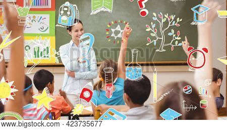 Composition of school related items over school teacher and children raising hands in class. school, education and study concept digitally generated image.