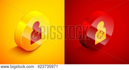 Isometric Human Target Sport For Shooting Icon Isolated On Orange And Red Background. Clean Target W