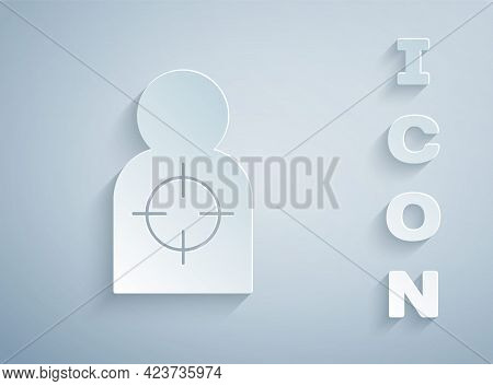 Paper Cut Human Target Sport For Shooting Icon Isolated On Grey Background. Clean Target With Number