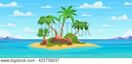 Cartoon Tropical Island With Palm Trees. Island In Ocean, Uninhabited Isle With Beach, Rocks Surroun