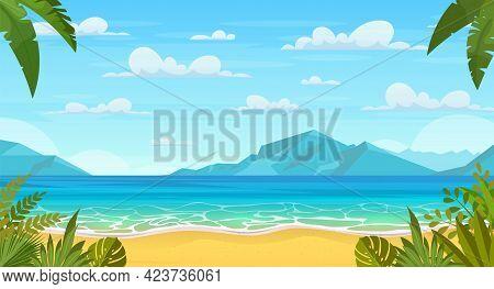 Summertime On The Beach. Cartoon Palms And Plants Around. Summer Vacation On Sea Coast. Tropical Par