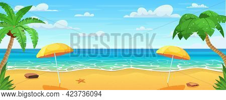 Sea Panorama. Tropical Beach. Seascape, Vacation Banner. Summertime On The Beach. Cartoon Palms And