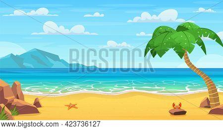 Sea Landscape. Tropical Beach, Ocean Seashore. Paradise Island Panorama With Palm Tree And Sky, Yach