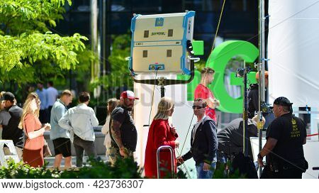 Warsaw, Poland. 14 June 2021. Busy Outdoor Filming Production Crew Team. Work On An Advertising Film