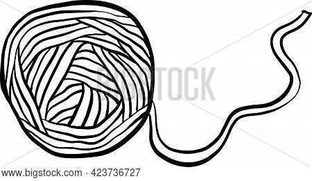 Ball Of Thread Icon. Black And White Sketch Vector Illustration.