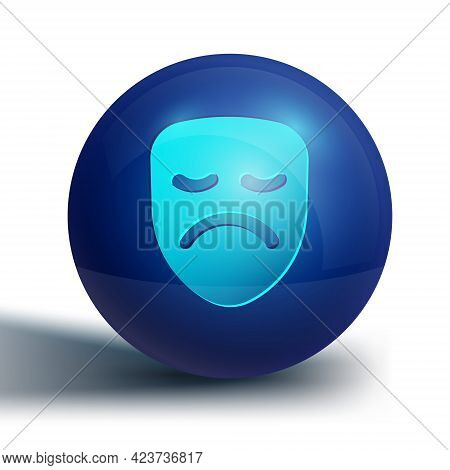 Blue Drama Theatrical Mask Icon Isolated On White Background. Blue Circle Button. Vector