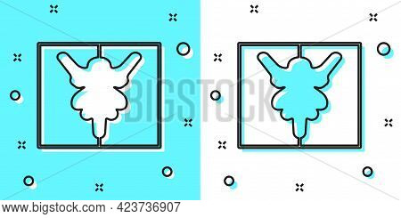 Black Line Rorschach Test Icon Isolated On Green And White Background. Psycho Diagnostic Inkblot Tes