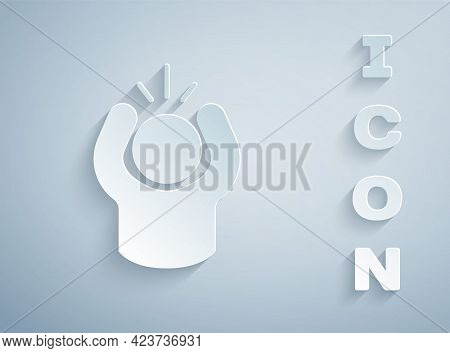 Paper Cut Anger Icon Isolated On Grey Background. Anger, Rage, Screaming Concept. Paper Art Style. V