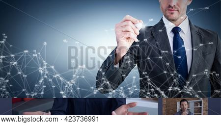 Network of connections against mid section of businessman writing on invisible screen. global networking and business technology concept