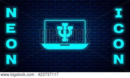 Glowing Neon Online Psychological Counseling Distance Icon Isolated On Brick Wall Background. Psycho
