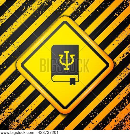 Black Psychology Book Icon Isolated On Yellow Background. Psi Symbol. Mental Health Concept, Psychoa