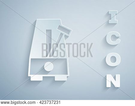 Paper Cut Classic Metronome With Pendulum In Motion Icon Isolated On Grey Background. Equipment Of M