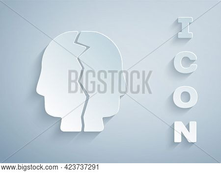 Paper Cut Bipolar Disorder Icon Isolated On Grey Background. Paper Art Style. Vector
